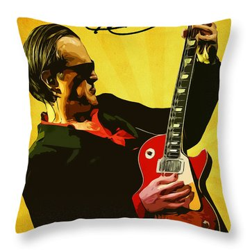 Joe Bonamassa Throw Pillow by Semih Yurdabak
