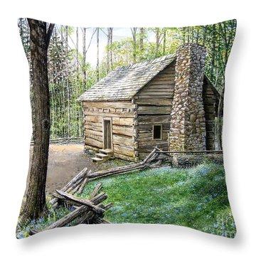John Ownby Cabin  Throw Pillow