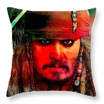Johnny Depp Painting Throw Pillow by Marvin Blaine