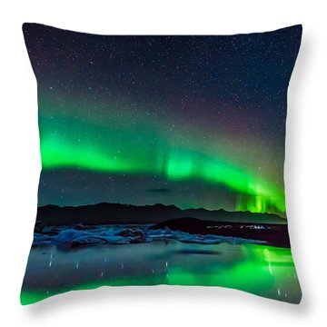 Jokulsarlon Aurora Throw Pillow