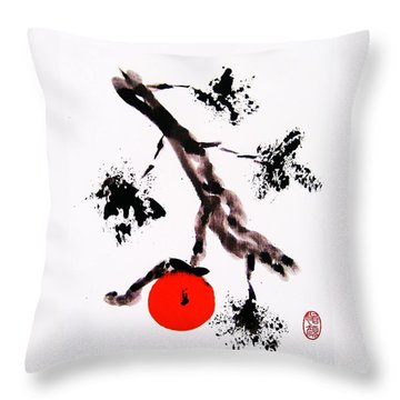 Throw Pillow featuring the painting Jukushita Kaki by Roberto Prusso