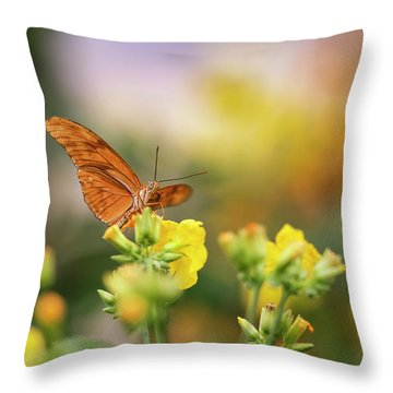 Julia Butterfly Lepidoptra Nymphalidae Butterfly On Vibrant Yell Throw Pillow