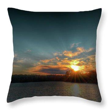 June Sunset On Nicks Lake Throw Pillow by David Patterson