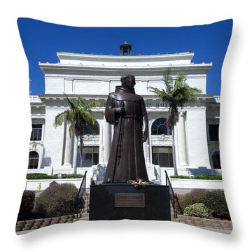 Throw Pillow featuring the photograph  Serra At City Hall by Mary Ellen Frazee