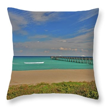 Throw Pillow featuring the photograph 1- Juno Beach Pier by Joseph Keane
