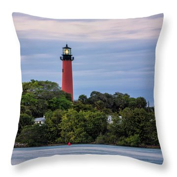 Jupiter Inlet Lighthouse Throw Pillow by Fran Gallogly