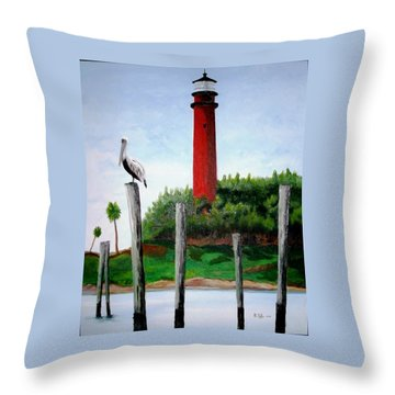 Jupiter Lighthouse Number Two Throw Pillow