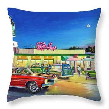 Muscle Car Cruise Night Throw Pillow