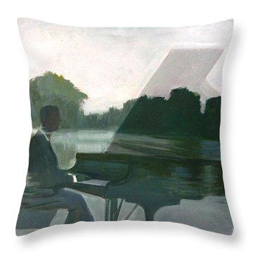 Justin Levitt Steinway Piano Spreckles Lake Throw Pillow