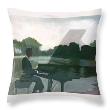 Justin Levitt Steinway Piano Spreckles Lake Throw Pillow