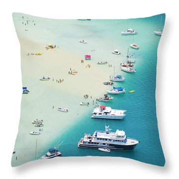 Kaneohe Bay, Boats Throw Pillow by Ron Dahlquist - Printscapes
