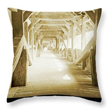 Kapell Bridge, Lucerne, Switzerland, 1903, Vintage, Photograph Throw Pillow