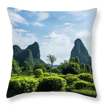 Throw Pillow featuring the photograph Karst Mountains Scenery by Carl Ning
