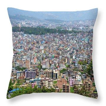 Kathmandu City In Nepal Throw Pillow