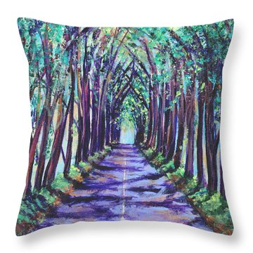 Kauai Tree Tunnel Throw Pillow by Marionette Taboniar