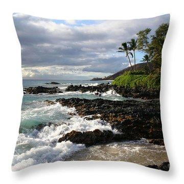 Ke Lei Mai La O Paako Oneloa Puu Olai Makena Maui Hawaii Throw Pillow by Sharon Mau