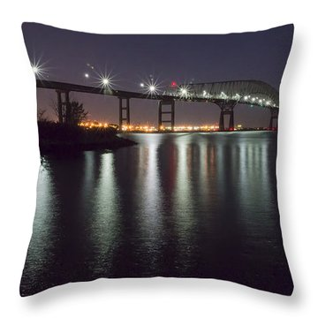 Key Bridge At Night Throw Pillow by Brian Wallace