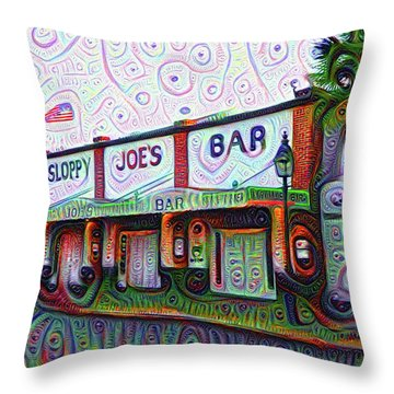 Key West Florida Sloppy Joes Bar Throw Pillow by Bill Cannon