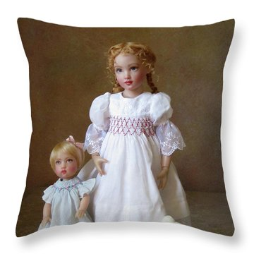 Throw Pillow featuring the photograph Kindhearted Kish Dolls by Nancy Lee Moran