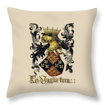 King Of England Coat Of Arms - Livro Do Armeiro-mor Throw Pillow by Serge Averbukh