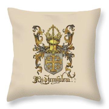 Kingdom Of Jerusalem Coat Of Arms - Livro Do Armeiro-mor Throw Pillow by Serge Averbukh