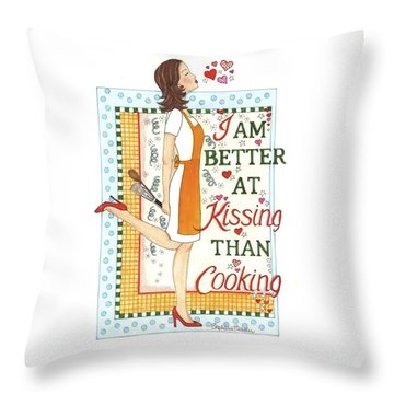 Kissing Cooking Throw Pillow