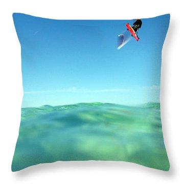 Kitesurfing Throw Pillow by Stelios Kleanthous