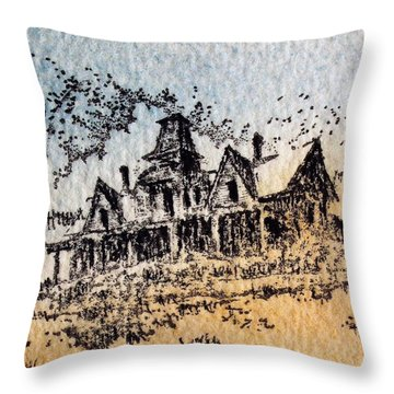 Knippenberg Mansion Glendale Ghost Town Montana Throw Pillow by Kevin Heaney