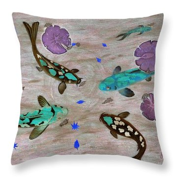 Koi Fish Feng Shui Throw Pillow by Georgeta  Blanaru