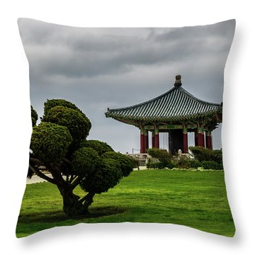 Throw Pillow featuring the photograph Korean Bell Of Friendship by Ed Clark