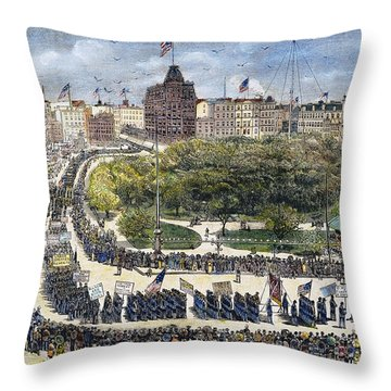 Labor Day Parade, 1882 Throw Pillow by Granger