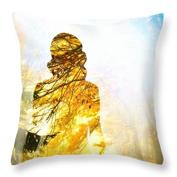 Lady Autumn Throw Pillow by Lilia D