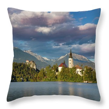 Throw Pillow featuring the photograph Lake Bled Evening by Brian Jannsen