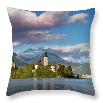 Throw Pillow featuring the photograph Lake Bled Panoramic by Brian Jannsen