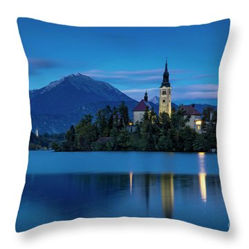 Throw Pillow featuring the photograph Lake Bled Twilight by Brian Jannsen
