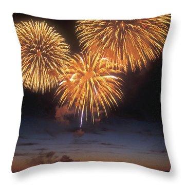 Lake Champlain Fireworks Throw Pillow by John Burk