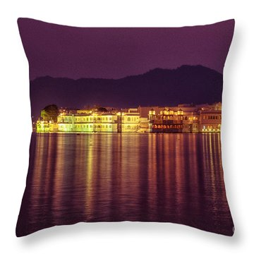 Throw Pillow featuring the photograph Lake Palace Night Scenery by Yew Kwang