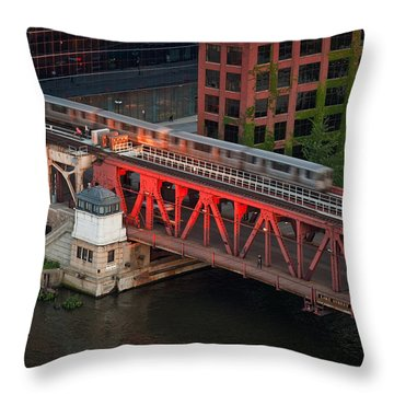 Lake Street Crossing Chicago River Throw Pillow by Steve Gadomski