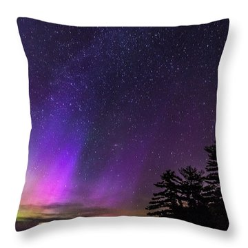 Lake Winnipesaukee Aurora Borealis Throw Pillow
