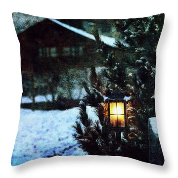 Lantern In The Woods Throw Pillow