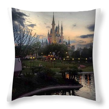 Cinderella's Castle Throw Pillow by Janel Cortez