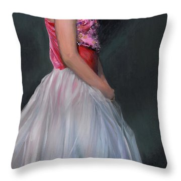 Throw Pillow featuring the painting Lauren Grace by Doug Kreuger