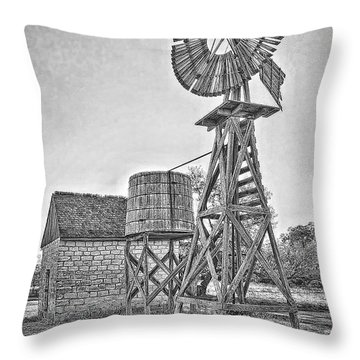 Lbj Homestead Windmill Throw Pillow