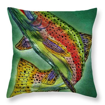 Leaping Trout Throw Pillow