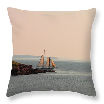 Leaving Camden Harbor Throw Pillow