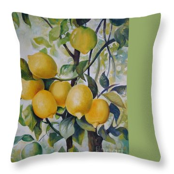 Throw Pillow featuring the painting Lemons by Elena Oleniuc