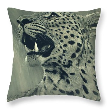 Leopard Portrait Throw Pillow by Aaron Blaise