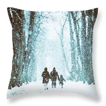 Let It Snow Throw Pillow by Marji Lang