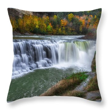 Throw Pillow featuring the photograph Letchworth Lower Falls by Mark Papke