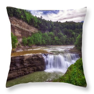 Throw Pillow featuring the photograph Letchworth State Park Lower Falls by Mark Papke